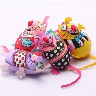 [GIN FOR FREE SHIPPING] 2PCs Colorful Stuffed Fat Cat Mouse Toys Chew