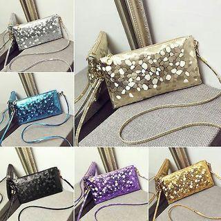 CHIC Fashion Women Faux Leather Sequin Handbag Bag Messenger Crossbody Clutch