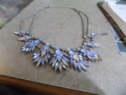 Vintage/Old blue and light purple moonstone necklace