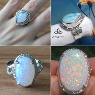 Elegant Women White Fire Opal Moon Stone Ring Jewelry Wedding Engagement Supply