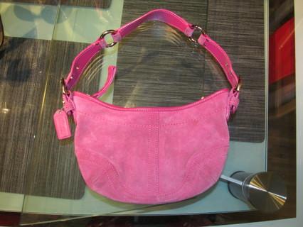 Coach Pink Suede Soho Small Hobo Bag Purse
