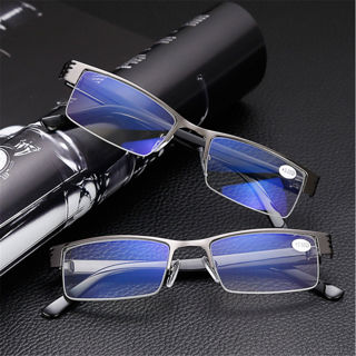 Mens Half Frame Style Blue Film Anti-radiation Reading Glasses