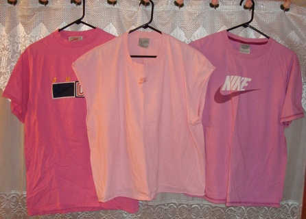 $ave Money NIKE 1 Brand New 3 Pink Shirts 2 size L and 1 is size XL Woman/Teens