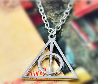 Hot movie harry potter -deathly hallows metal silver necklace pendant