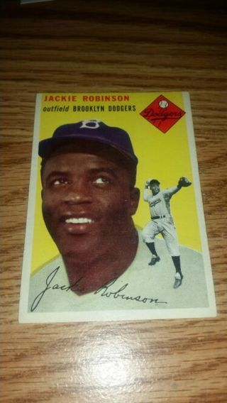 1954 Topps Baseball Jackie Robinson #10 Brooklyn Dodgers Ex condition,free shipping!