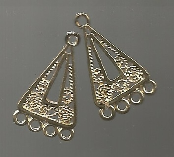 Two Gold Tone 1 to 4 Pendant / Earring Connector - 1 Inch