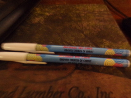 2 NEW PENS WITH MY CHURCH NAME ON THEM