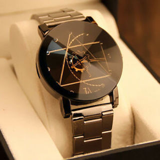 Fashion Men Women LuxuryWatch Compass Stainless Steel Quartz Analog Wrist Watch