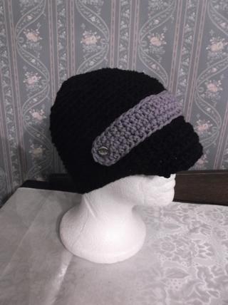 Cute Handmade  Crocheted / Knitted BLACK/PURPLE Newsboy Cap/Hat