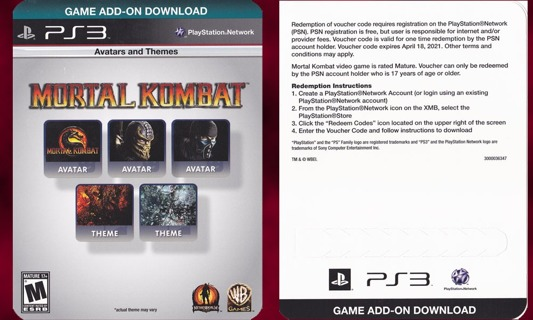 Free: Mortal Kombat Avatars And Themes (ps3, psn code - Video Game