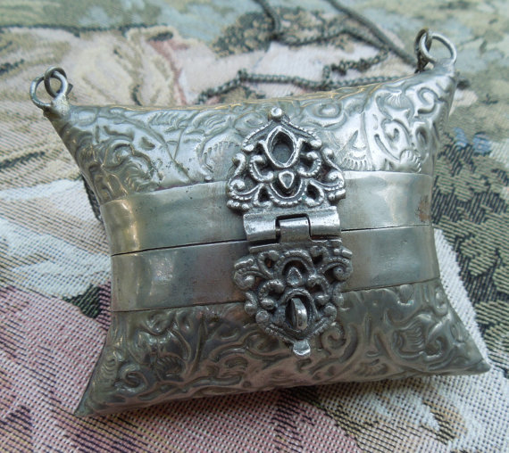 Free Antique Sterling Silver Repousse Pillow Purse