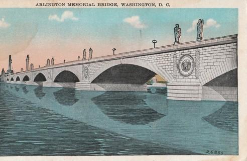 Vintage Unused Postcard: Pre Linen: Arlington Memorial Bridge, Washington DC