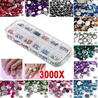 3000pcs Nail Art Rhinestones Decoration DIY for UV Gel Acrylic Systems 2mm USA