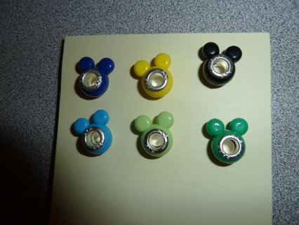 6  Color Mickey Charm Beads with 925 stamped cores
