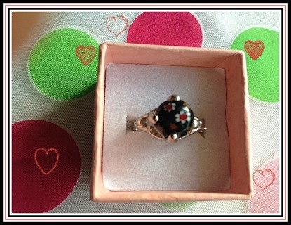 Black Millefiori Glass Ring