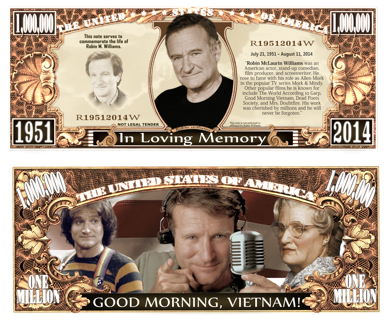 Robin Williams Million Dollar Bill Collectible Fake Play Funny Money $ Novelty Note