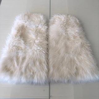 18 Inch White Faux Fur Leg Warmers • Free Shipping