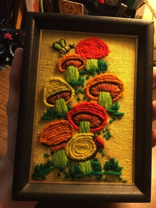 Vintage Hippy Mushroom Woven Picture