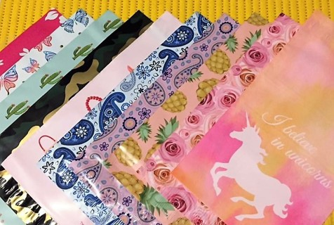 """SMALL SAMPLER *11 Different Printed 6"""" x 9"""" Poly Mailers*"""