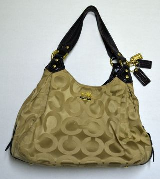 Coach Purse Maggie ~ Op Art Sig Canvas Triple Entry K0973-14305 Brown Beige Sateen Canvas Hobo Bag