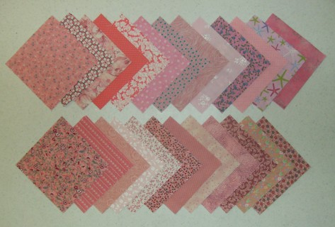 """50 Cotton Fabric PINK  Quilt Squares 5"""" by 5"""" No solids: 2 each of 25 different prints"""