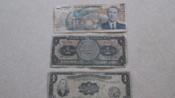 2 BILLS FROM THE BANK OF MEXICO AND 1 FROM THE BANK OF THE PHILIPPINES