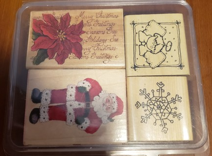 NEW - Set of 4 - Mounted Christmas Rubber Stamps