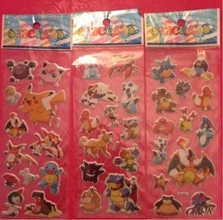 3 sheets Pokemon puffy stickers