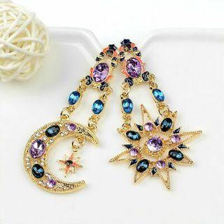 Elegant Crystals Drop Long Moon Sun Pendant Stud Earrings Women