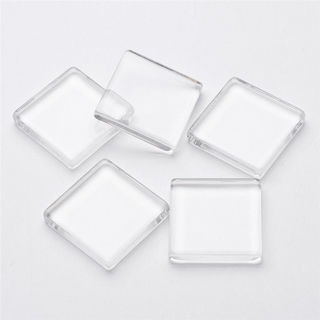 20PCs Clear 10mm Square Flatback Glass Cabochons Tile Seals Photo Glass Covers