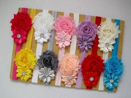 10Pcs Cute Kids Girl Baby Chiffon Toddler Flower Bow Headband Hair Band Headwear