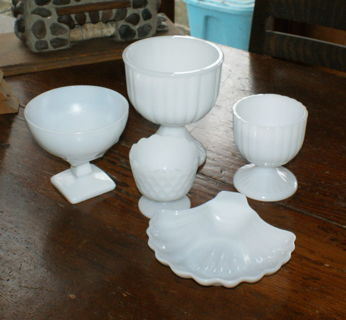 Set of Five Milk White Glass Bowls Wedding or Shower Buffet Set