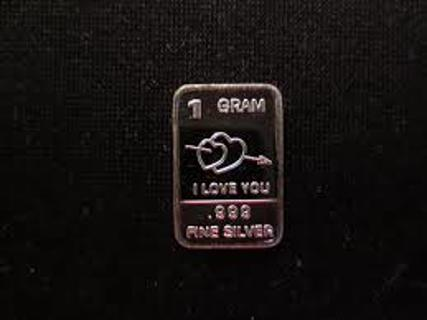 I love you silver bar .999 Silver 1 Gram New