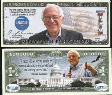 NEW BERNIE SANDERS PRESIDENT MILLION DOLLAR BILLS (x2 Bills)  FREE SHIPPING