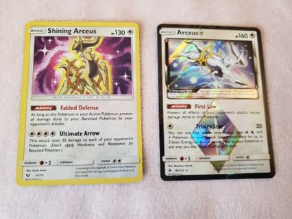 NEAR MINT CONDITION SHINING ARCEUS + MATCHING PRISM POKEMON CARDS!!