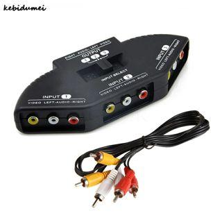 3-Port Selector AV Audio Video Switcher Splitter Cable AV RCA Hub Gaming Switch
