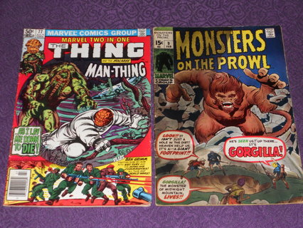 REDUCED! (1971-1981) BRONZE MARVEL LOT OF 2 * MONSTERS ON THE PROWL #9 * MARVEL 2 IN 1 * VINTAGE!