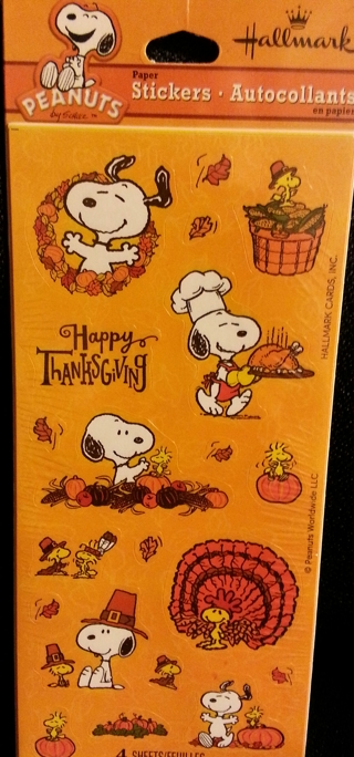 3 Sheets of Snoopy Thanksgiving Stickers