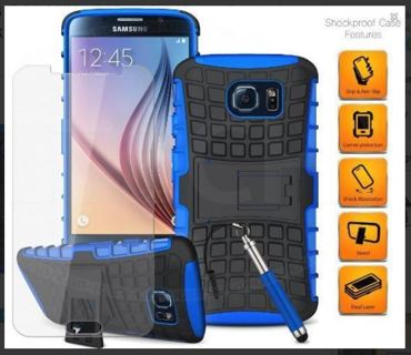 NEW SAMSUNG GALAXY s6 Housing Case Scratch-Resistant Shock Absorbent Tire Grip Stand FREE SHIPPING