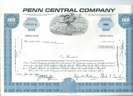 Penn Central stock certificate 1969 famous railroad bankruptcy