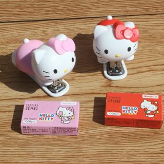 Creative Cute Lovely Hello Kitty Mini Stapler Binding Book Paper Portable Staples