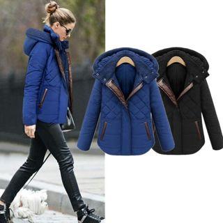 New Women Winter Warm Hooded Casual Slim Down Jacket Overcoat Parka Coat Outwear blue jacket