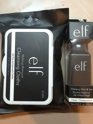 e.l.f. Makeup Mist & Set/Makeup Remover Cloths Combo w/GIN Bonus Shadow Quartet