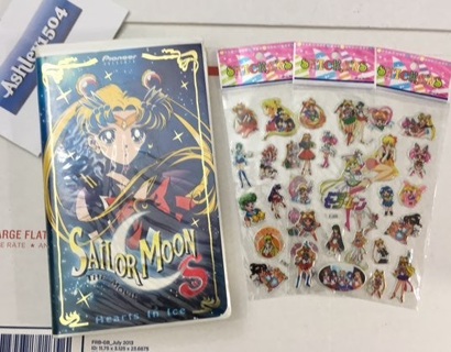 VINTAGE PIONEER VHS SAILOR MOON MOVIE & STICKERS VHS VIDEO ANIME MANGA FREE SHIPPING