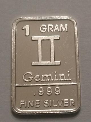 1 gram .999 fine silver bar - Gemini