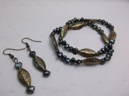 Light Bronzed Antiqued Peacock Pearl Stretch Bracelets w Matching Earrings