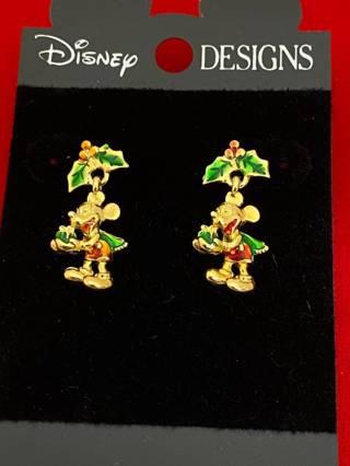 Disney earrings Mickey Winnie the Pooh Antique Gold Carded Disneyanna NWT