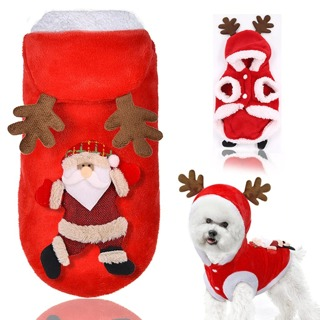 Pet Dog Clothes coat Warm Christmas Pet Puppy Hoodied Sweatshirts Dog Red hood Clothes