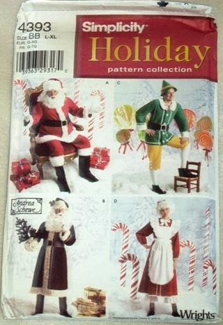 Free Christmas Sewing Pattern Santa Mrs Claus Elf Simplicity 4393