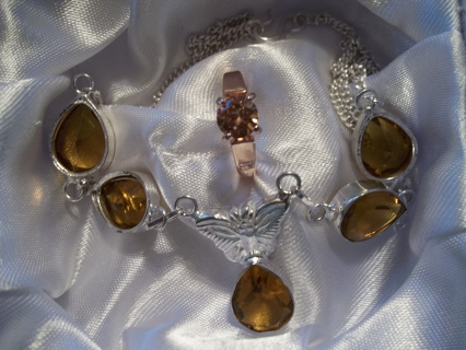 MY BIRTHDAY SPECIAL TO MY FANS: GENUINE .925 CITRINE GEM NECKLACE & RING SET